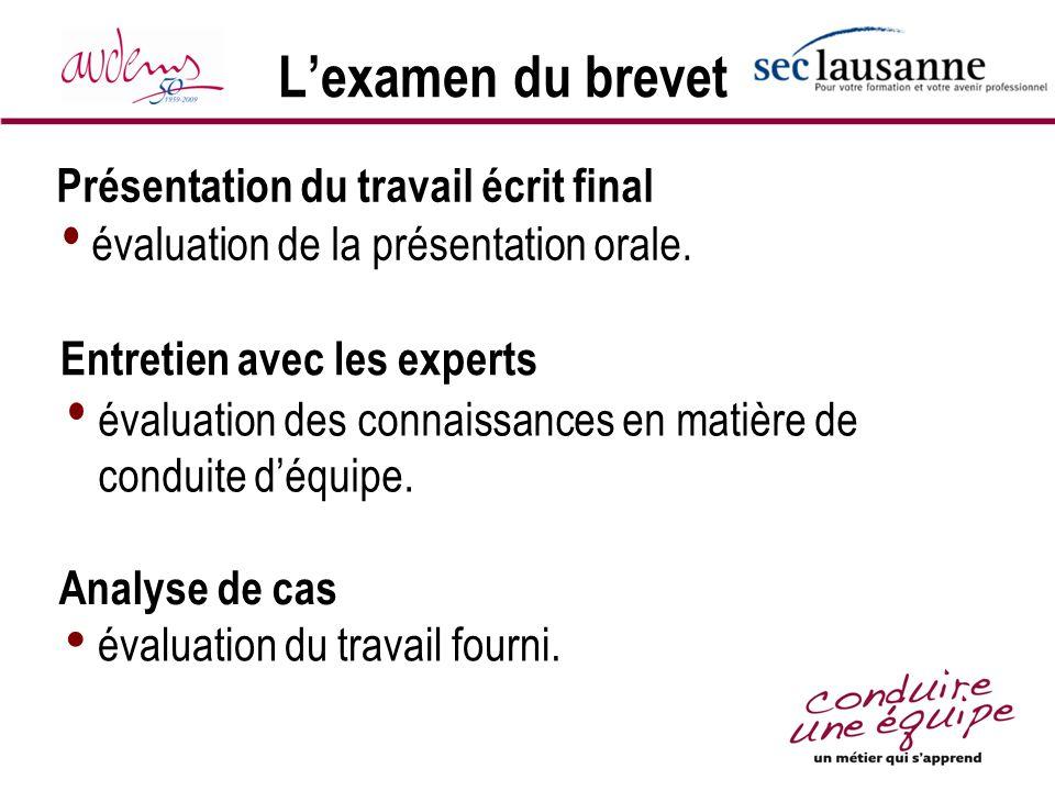 Lexamen du brevet évaluation de la présentation orale. Présentation du travail écrit final Analyse de cas évaluation du travail fourni. Entretien avec