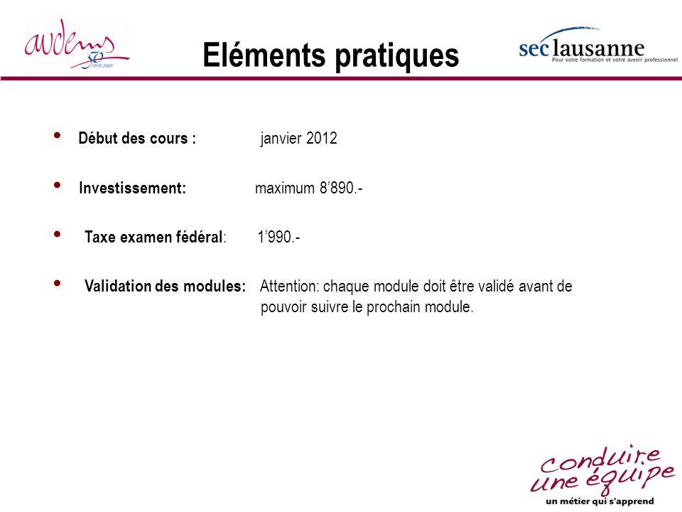 Eléments pratiques Début des cours : janvier 2012 Investissement: maximum 8890.- Taxe examen fédéral :1990.- Validation des modules: Attention: chaque