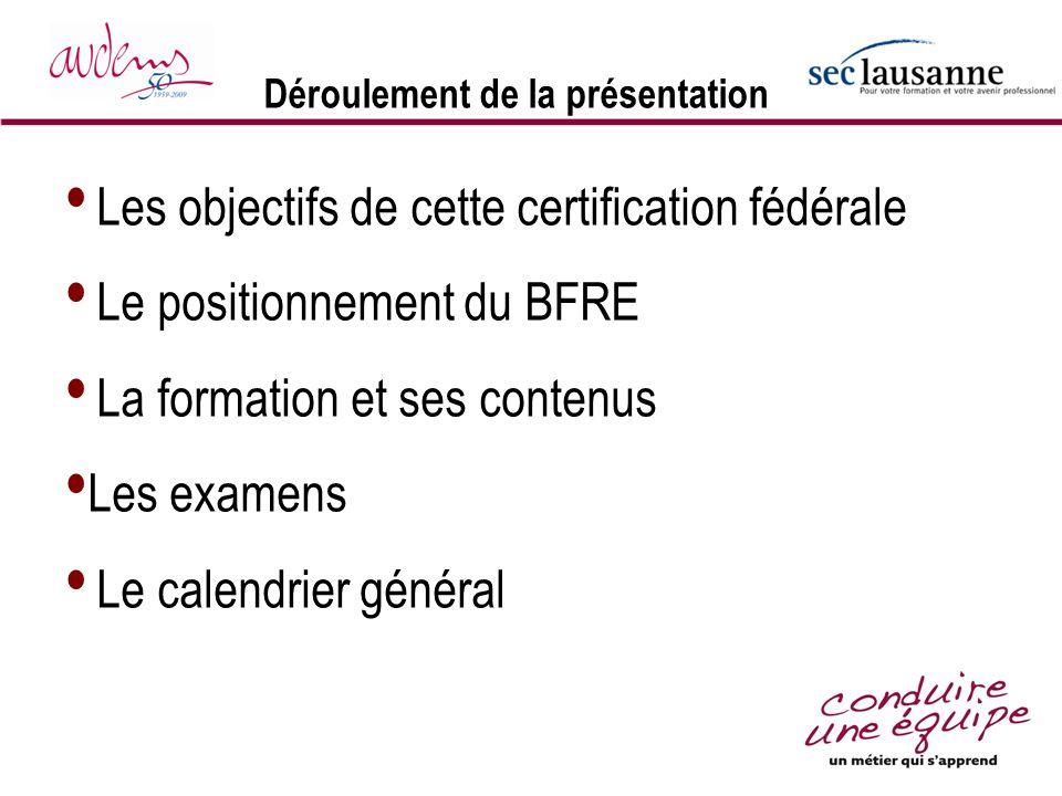 Déroulement de la présentation Les objectifs de cette certification fédérale Le positionnement du BFRE La formation et ses contenus Les examens Le cal