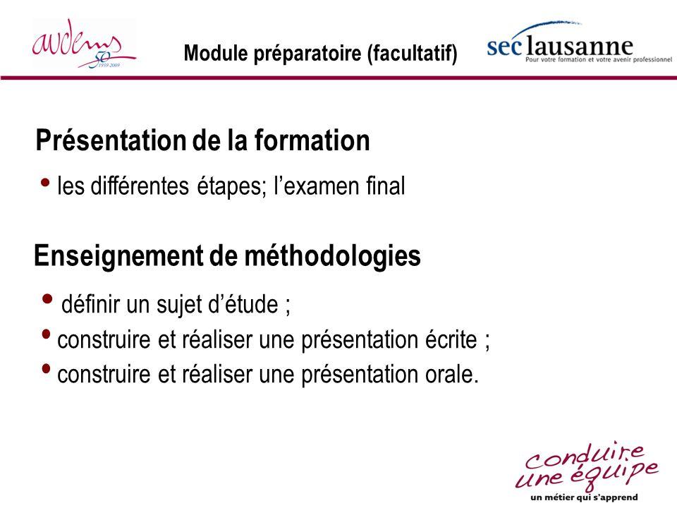 Module préparatoire (facultatif) les différentes étapes; lexamen final Présentation de la formation Enseignement de méthodologies définir un sujet dét
