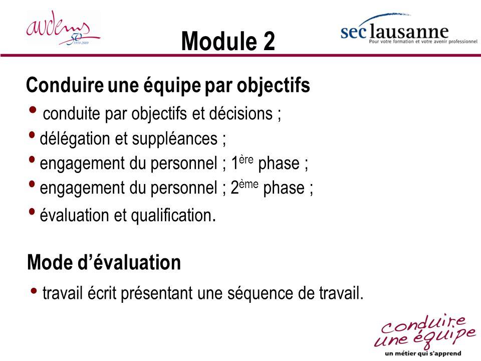 Module 2 conduite par objectifs et décisions ; délégation et suppléances ; engagement du personnel ; 1 ère phase ; engagement du personnel ; 2 ème pha