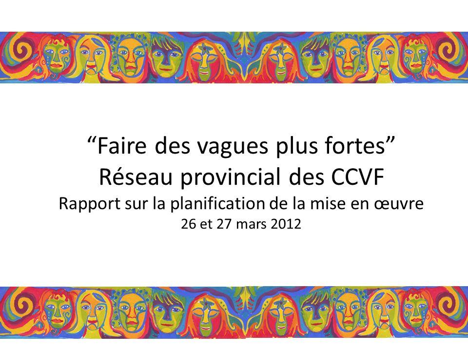 Faire des vagues plus fortes Réseau provincial des CCVF Rapport sur la planification de la mise en œuvre 26 et 27 mars 2012