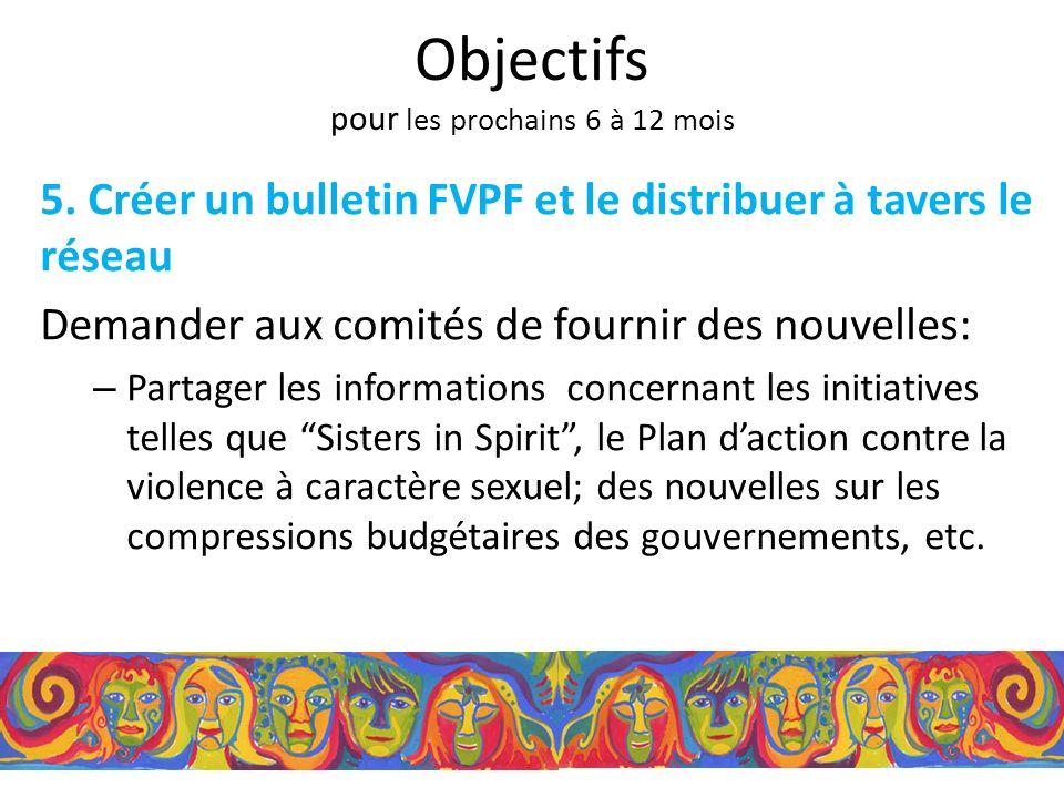 5. Créer un bulletin FVPF et le distribuer à tavers le réseau Demander aux comités de fournir des nouvelles: – Partager les informations concernant le
