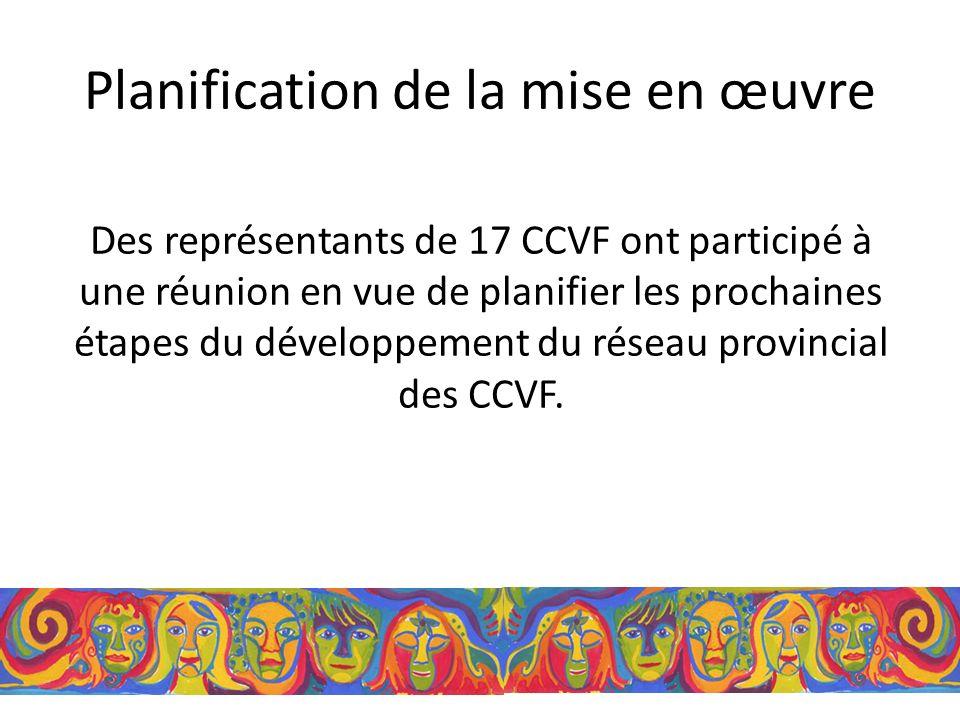 Planification de la mise en œuvre Des représentants de 17 CCVF ont participé à une réunion en vue de planifier les prochaines étapes du développement du réseau provincial des CCVF.