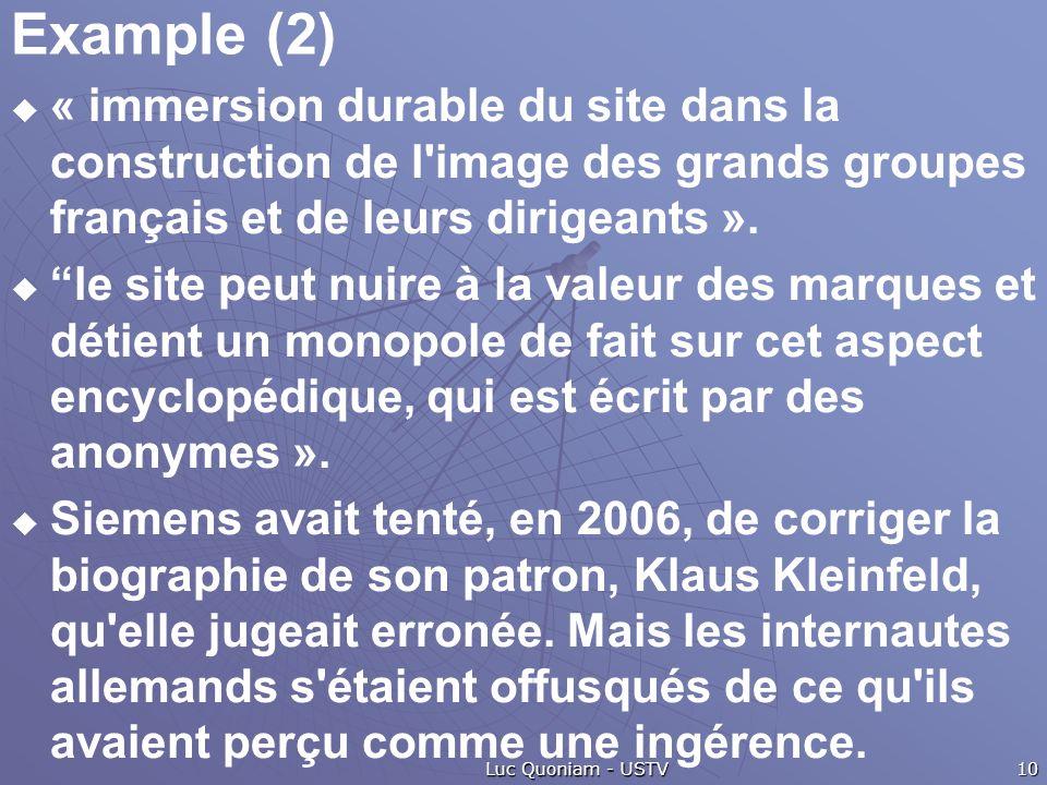 Example (2) « immersion durable du site dans la construction de l'image des grands groupes français et de leurs dirigeants ». le site peut nuire à la
