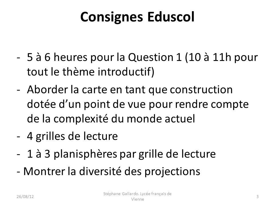 Consignes Eduscol -5 à 6 heures pour la Question 1 (10 à 11h pour tout le thème introductif) -Aborder la carte en tant que construction dotée dun poin