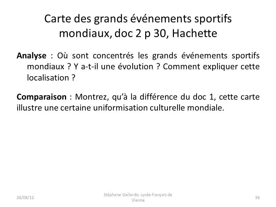 Carte des grands événements sportifs mondiaux, doc 2 p 30, Hachette Analyse : Où sont concentrés les grands événements sportifs mondiaux ? Y a-t-il un