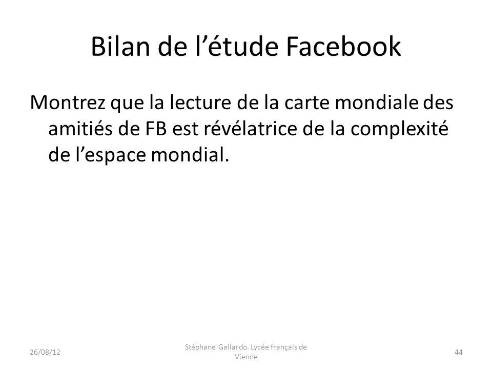 Bilan de létude Facebook Montrez que la lecture de la carte mondiale des amitiés de FB est révélatrice de la complexité de lespace mondial. 26/08/1244