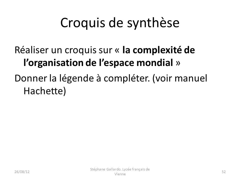 Croquis de synthèse Réaliser un croquis sur « la complexité de lorganisation de lespace mondial » Donner la légende à compléter. (voir manuel Hachette