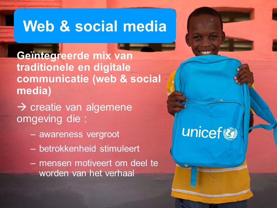 Web & social media Geïntegreerde mix van traditionele en digitale communicatie (web & social media) creatie van algemene omgeving die : –awareness vergroot –betrokkenheid stimuleert –mensen motiveert om deel te worden van het verhaal