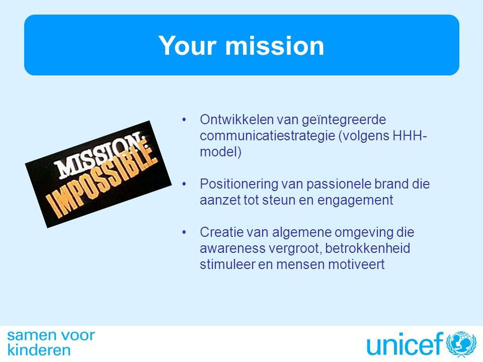 Your mission Ontwikkelen van geïntegreerde communicatiestrategie (volgens HHH- model) Positionering van passionele brand die aanzet tot steun en engagement Creatie van algemene omgeving die awareness vergroot, betrokkenheid stimuleer en mensen motiveert