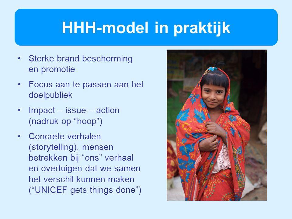 HHH-model in praktijk Sterke brand bescherming en promotie Focus aan te passen aan het doelpubliek Impact – issue – action (nadruk op hoop) Concrete verhalen (storytelling), mensen betrekken bij ons verhaal en overtuigen dat we samen het verschil kunnen maken (UNICEF gets things done)