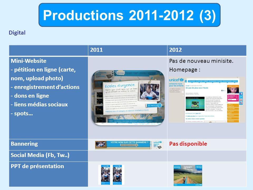 Productions 2011-2012 (3) Digital 20112012 Mini-Website - pétition en ligne (carte, nom, upload photo) - enregistrement dactions - dons en ligne - liens médias sociaux - spots… Pas de nouveau minisite.