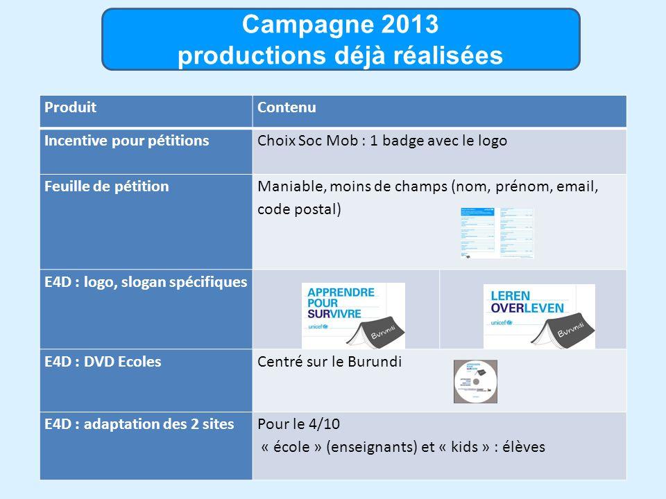 Campagne 2013 productions déjà réalisées ProduitContenu Incentive pour pétitions Choix Soc Mob : 1 badge avec le logo Feuille de pétition Maniable, moins de champs (nom, prénom, email, code postal) E4D : logo, slogan spécifiques E4D : DVD EcolesCentré sur le Burundi E4D : adaptation des 2 sitesPour le 4/10 « école » (enseignants) et « kids » : élèves