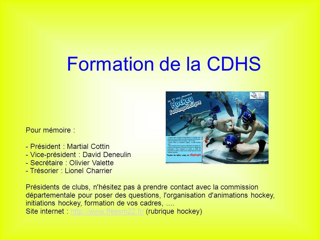 Formation de la CDHS Pour mémoire : - Président : Martial Cottin - Vice-président : David Deneulin - Secrétaire : Olivier Valette - Trésorier : Lionel