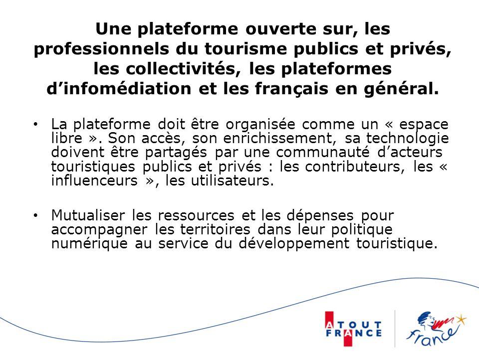 Une plateforme ouverte sur, les professionnels du tourisme publics et privés, les collectivités, les plateformes dinfomédiation et les français en général.