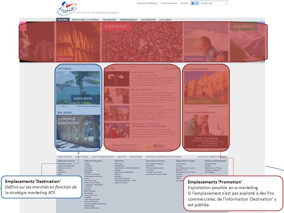 Emplacements Destination Définis sur les marchés en fonction de la stratégie marketing ATF.