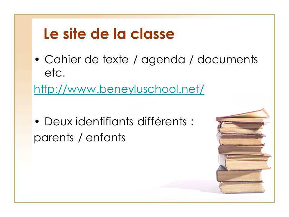 Le site de la classe Cahier de texte / agenda / documents etc.