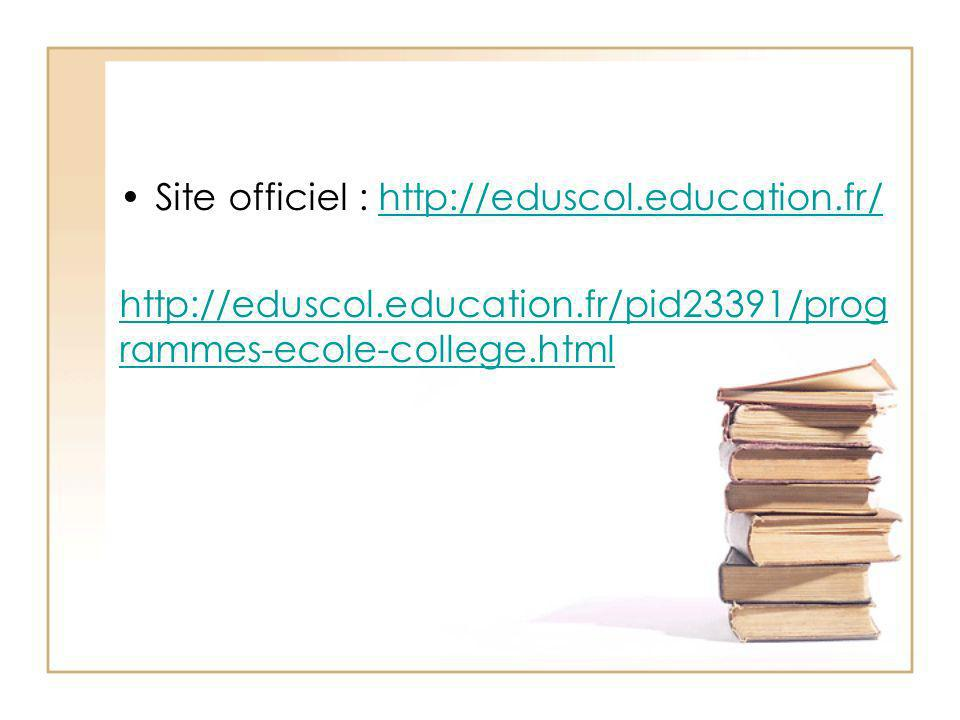 Site officiel : http://eduscol.education.fr/http://eduscol.education.fr/ http://eduscol.education.fr/pid23391/prog rammes-ecole-college.html