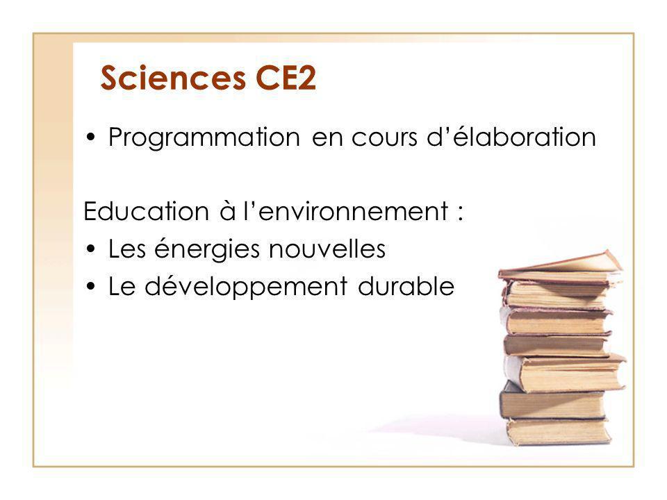 Sciences CE2 Programmation en cours délaboration Education à lenvironnement : Les énergies nouvelles Le développement durable
