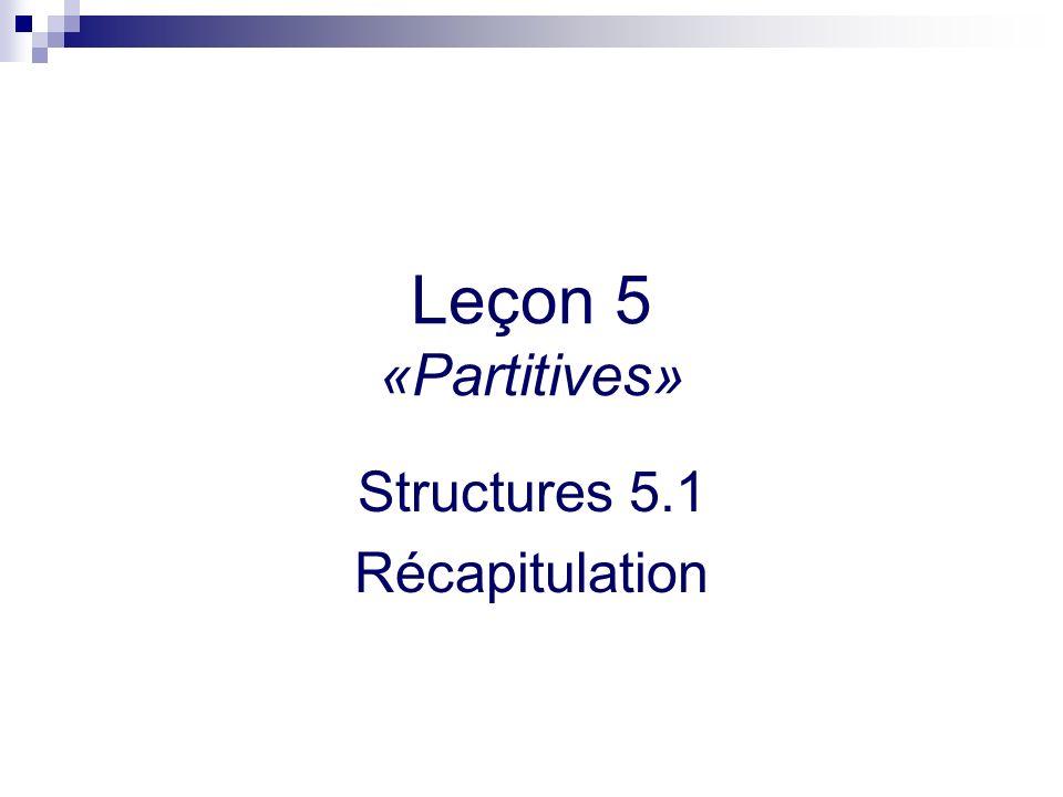 Leçon 5 «Partitives» Structures 5.1 Récapitulation