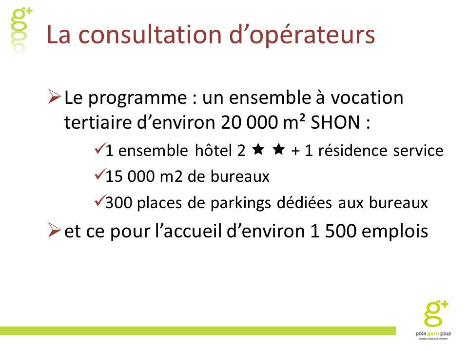 La consultation dopérateurs Le programme : un ensemble à vocation tertiaire denviron 20 000 m² SHON : 1 ensemble hôtel 2 + 1 résidence service 15 000