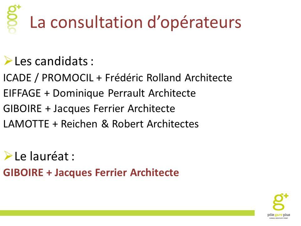 La consultation dopérateurs Les candidats : ICADE / PROMOCIL + Frédéric Rolland Architecte EIFFAGE + Dominique Perrault Architecte GIBOIRE + Jacques F