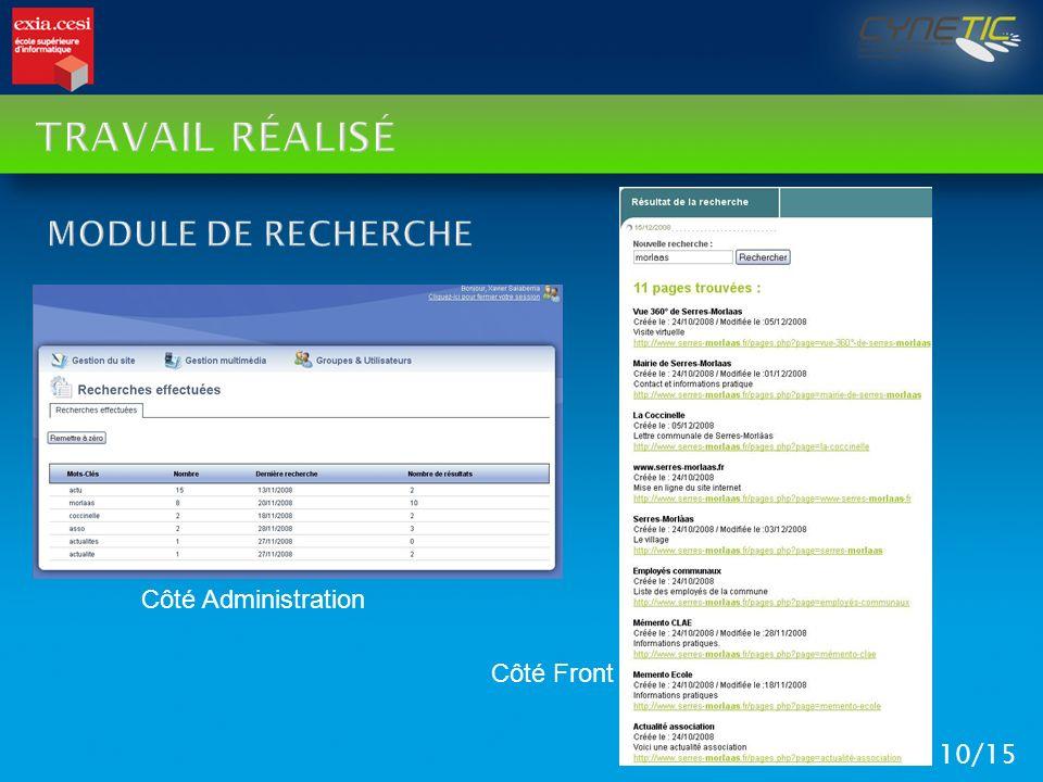 TRAVAIL RÉALISÉ 10/15 Côté Front Côté Administration