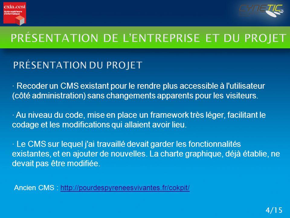 PRÉSENTATION DE LENTREPRISE ET DU PROJET 4/15 · Recoder un CMS existant pour le rendre plus accessible à l'utilisateur (côté administration) sans chan