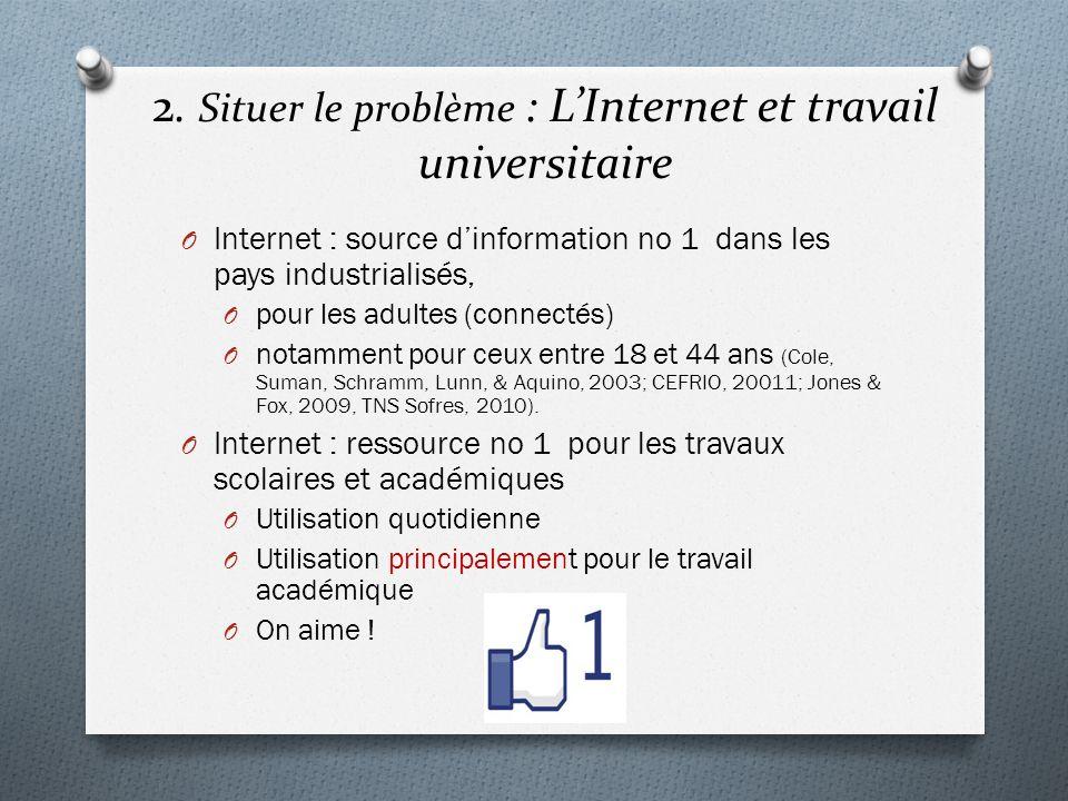 2. Situer le problème : LInternet et travail universitaire O Internet : source dinformation no 1 dans les pays industrialisés, O pour les adultes (con