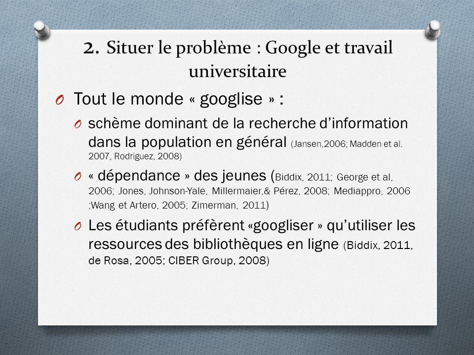 2. Situer le problème : Google et travail universitaire O Tout le monde « googlise » : O schème dominant de la recherche dinformation dans la populati