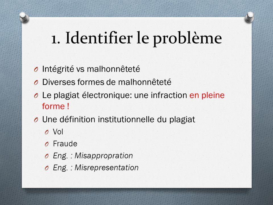 1. Identifier le problème O Intégrité vs malhonnêteté O Diverses formes de malhonnêteté O Le plagiat électronique: une infraction en pleine forme ! O