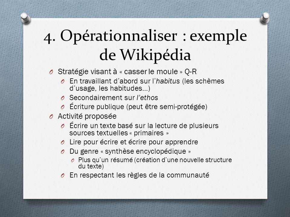 4. Opérationnaliser : exemple de Wikipédia O Stratégie visant à « casser le moule » Q-R O En travaillant dabord sur lhabitus (les schèmes dusage, les