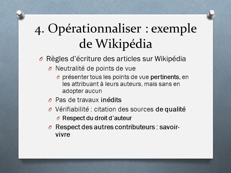 4. Opérationnaliser : exemple de Wikipédia O Règles décriture des articles sur Wikipédia O Neutralité de points de vue O présenter tous les points de