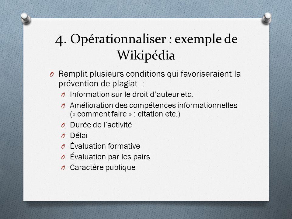 4. Opérationnaliser : exemple de Wikipédia O Remplit plusieurs conditions qui favoriseraient la prévention de plagiat : O Information sur le droit dau