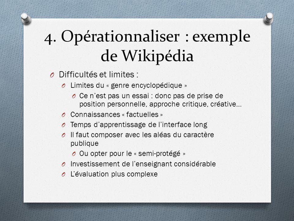4. Opérationnaliser : exemple de Wikipédia O Difficultés et limites : O Limites du « genre encyclopédique » O Ce nest pas un essai : donc pas de prise