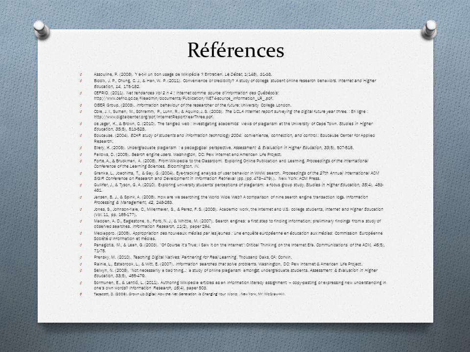 Références O Assouline, P. (2008). Y a-t-il un bon usage de Wikipédia ? Entretien. Le Débat, 1(148), 31-38. O Biddix, J. P., Chung, C. J., & Han, W. P