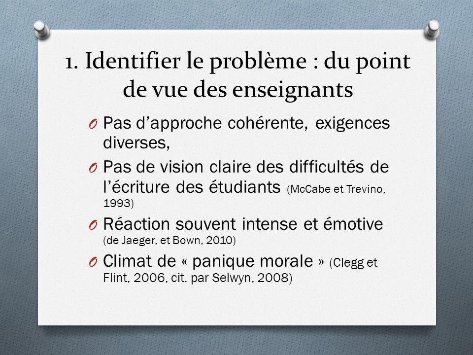 1. Identifier le problème : du point de vue des enseignants O Pas dapproche cohérente, exigences diverses, O Pas de vision claire des difficultés de l