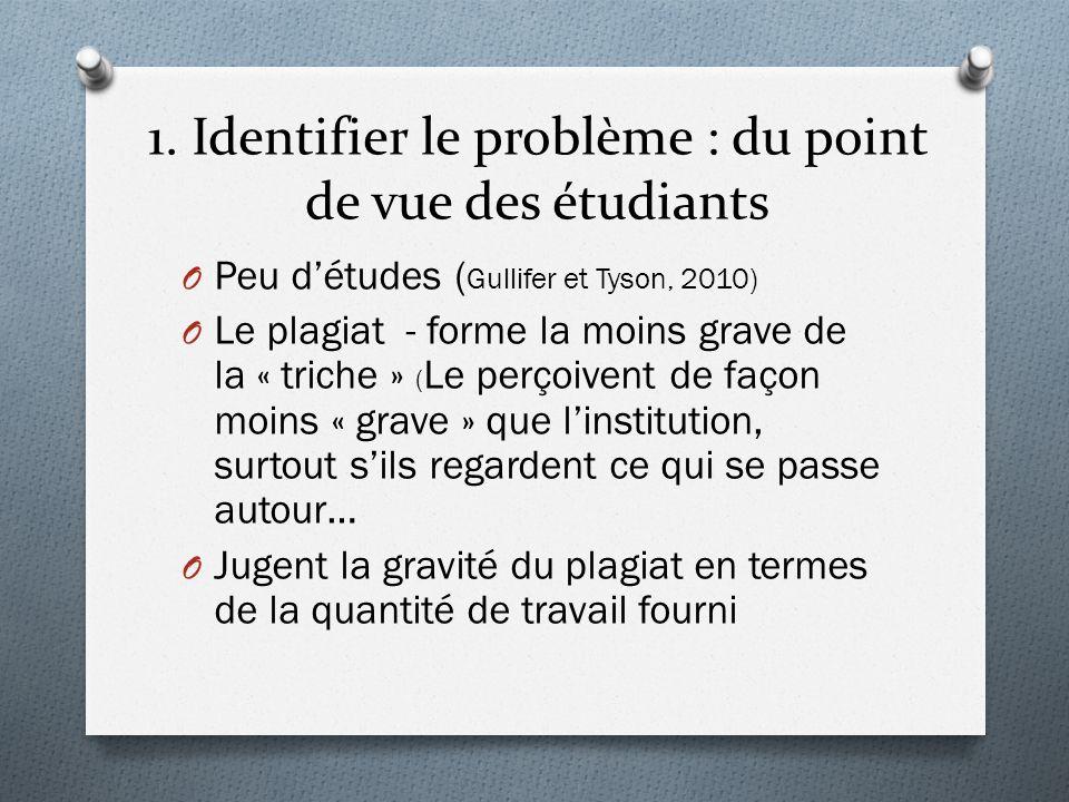 1. Identifier le problème : du point de vue des étudiants O Peu détudes ( Gullifer et Tyson, 2010) O Le plagiat - forme la moins grave de la « triche
