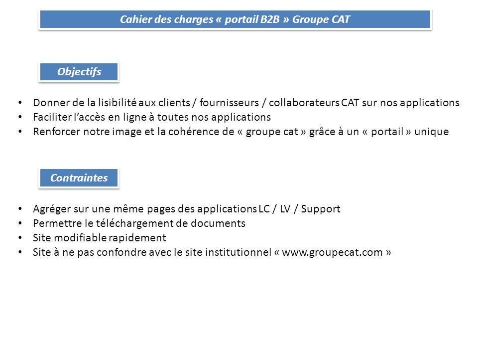 Cahier des charges « portail B2B » Groupe CAT Conditions Le site doit donner accès aux applications suivantes : E-CATALOGUE | ESNET | DMS | EASYCAT | NEC | ODIN | SUPPLYC@T | WEBMAIL |VIA … plus toutes celles à venir .