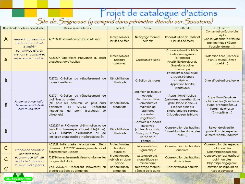 9 Site de Seignosse (y compris dans périmètre étendu sur Soustons) Projet de catalogue dactions Objectifs de développement durableMesures contractuell