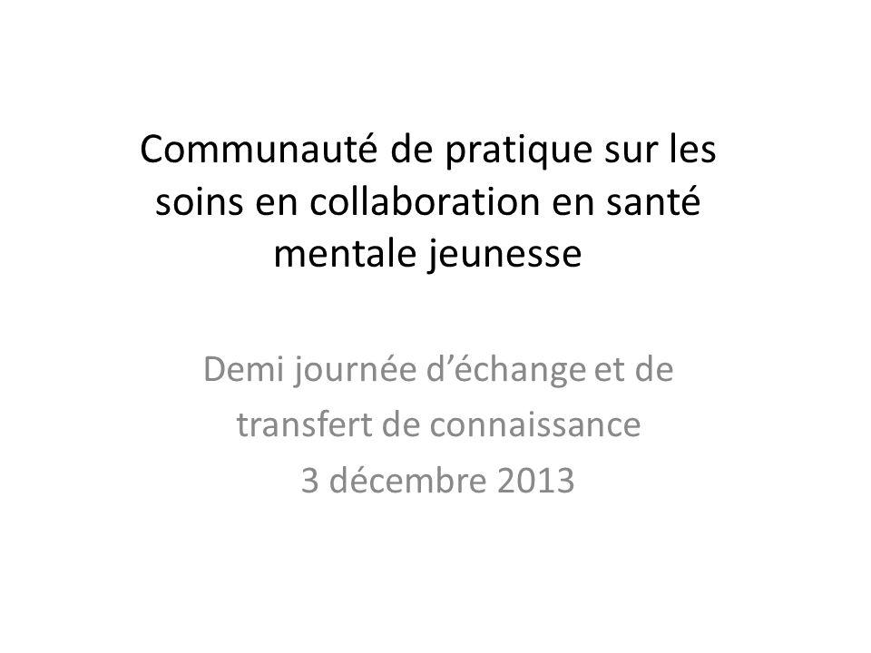 Communauté de pratique sur les soins en collaboration en santé mentale jeunesse Demi journée déchange et de transfert de connaissance 3 décembre 2013