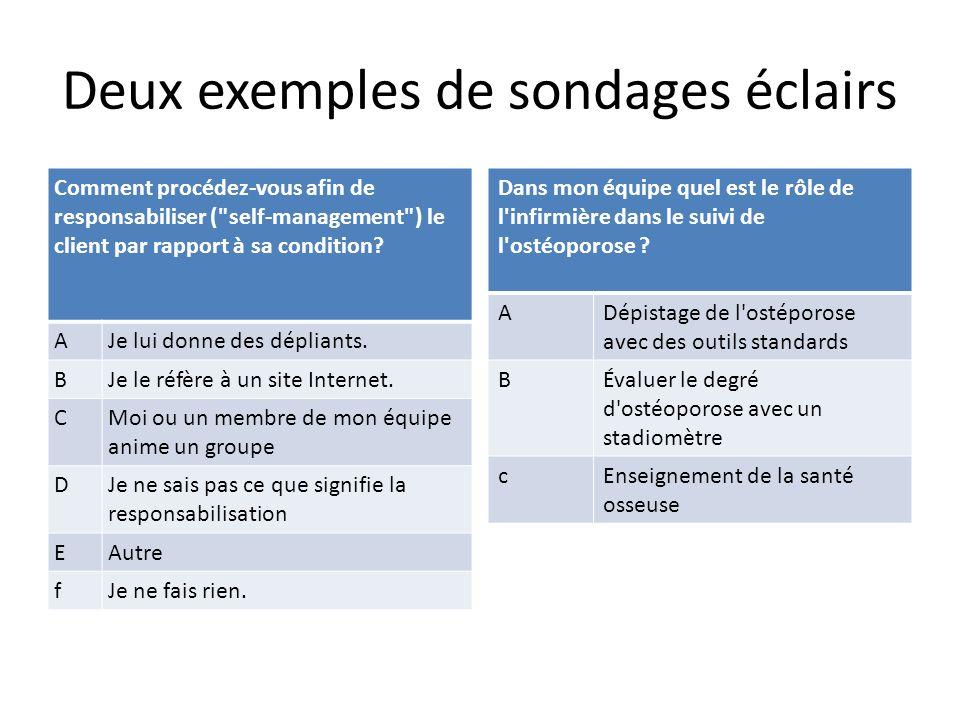 Deux exemples de sondages éclairs Comment procédez-vous afin de responsabiliser ( self-management ) le client par rapport à sa condition.