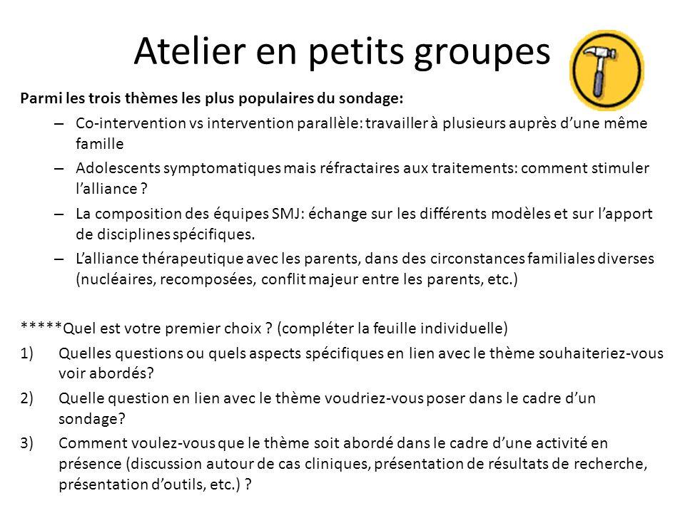 Atelier en petits groupes Parmi les trois thèmes les plus populaires du sondage: – Co-intervention vs intervention parallèle: travailler à plusieurs a