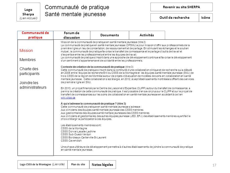 Communauté de pratique Logo Sherpa (Lien Accueil) Forum de discussion Documents Activités Revenir au site SHERPA Outil de recherche Icône Logo CSSS de