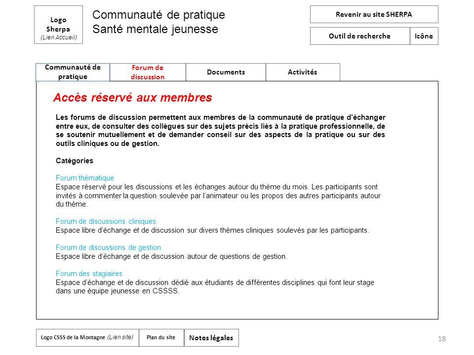 18 Communauté de pratique Logo Sherpa (Lien Accueil) Forum de discussion Documents Activités Revenir au site SHERPA Outil de recherche Icône Logo CSSS