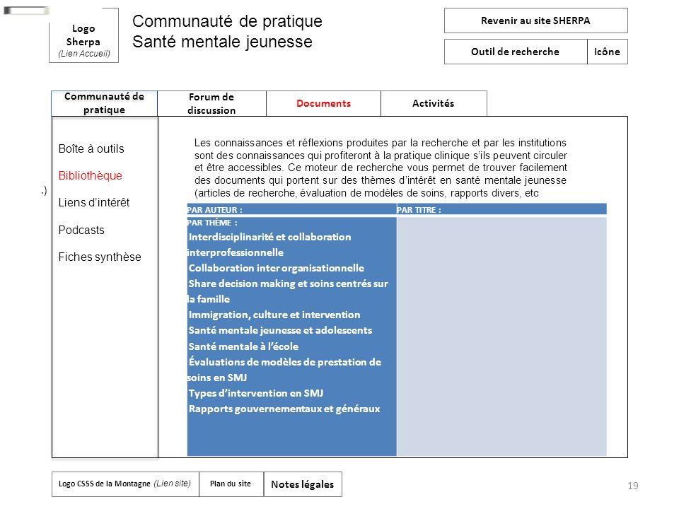 19 Communauté de pratique Logo Sherpa (Lien Accueil) Forum de discussion Documents Activités Revenir au site SHERPA Outil de recherche Icône Logo CSSS