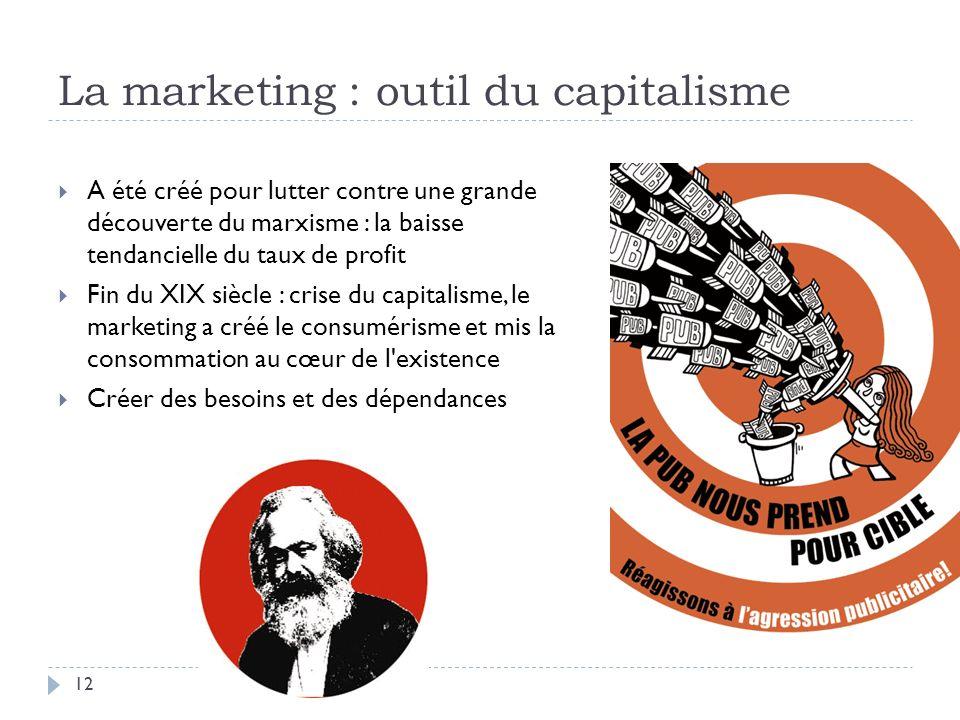 La marketing : outil du capitalisme A été créé pour lutter contre une grande découverte du marxisme : la baisse tendancielle du taux de profit Fin du