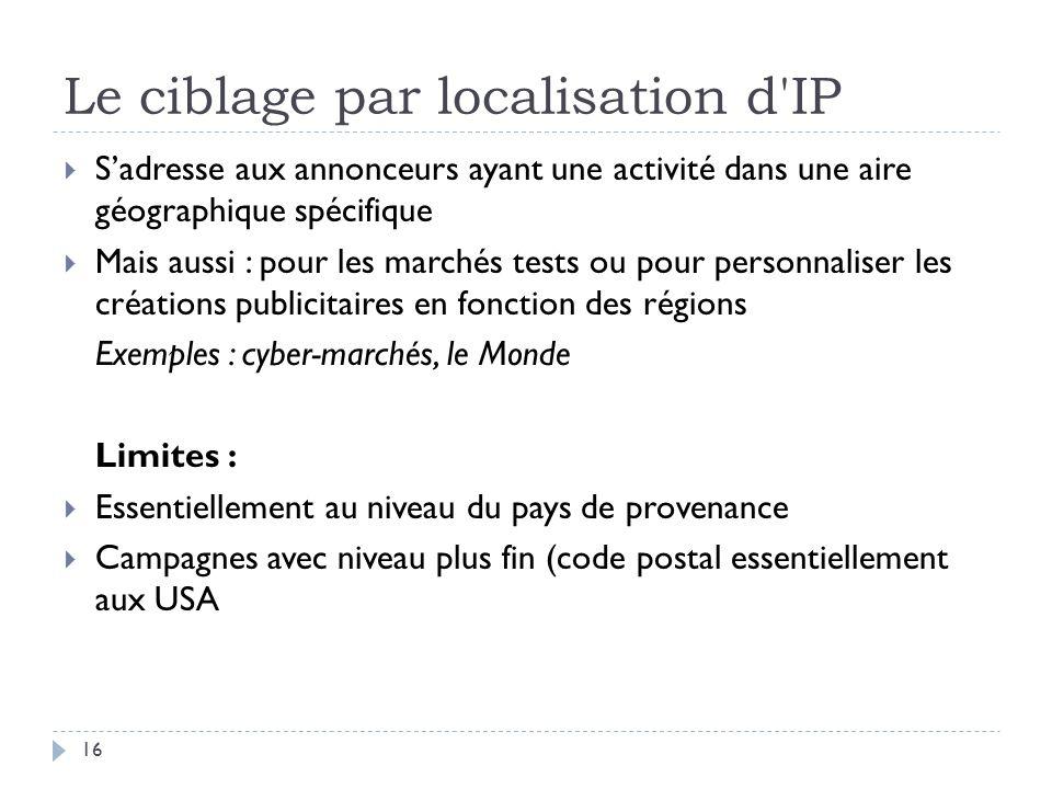 Le ciblage par localisation d'IP Sadresse aux annonceurs ayant une activité dans une aire géographique spécifique Mais aussi : pour les marchés tests