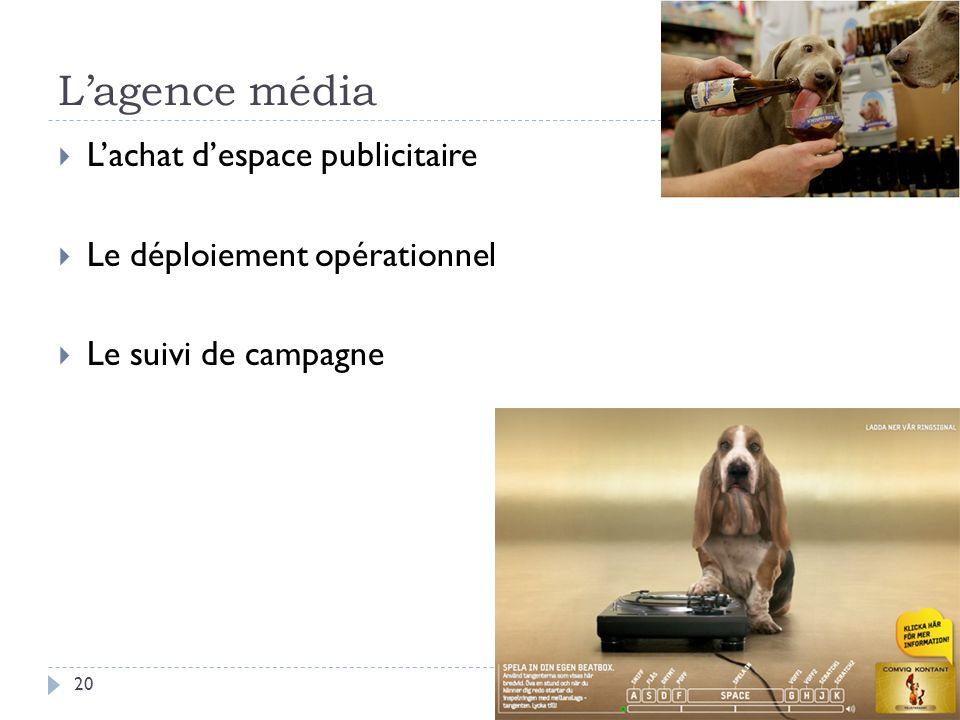 Lagence média Lachat despace publicitaire Le déploiement opérationnel Le suivi de campagne 20